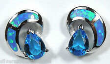 London Blue Topaz & Blue Fire Opal Inlay Solid 925 Sterling Silver Post Earrings