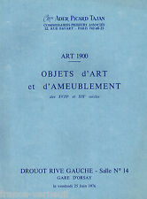 Catalogue de vente Ader Art Nouveau 1900 Porcelaine Faience Jersey Daum Galle