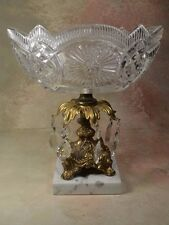 Vintage Crystal Pedestal Serving Compote Bowl  Brass Marble Base Crystals Italy