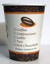 12 oz  100 Paper Coffee Cup/Disposable Hot Cup with 100 Cappuccino Lids