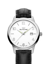 GLYCINE Classic White Black Leather Swiss Made Timepiece NEW!
