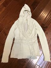 Sleeping On Snow Anthropologie Wool Blend Hooded Wrap Sweater/Cardigan Sz S