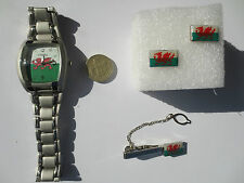 Square Rugby Football Wales Cymru flag Wrist Watch Tie Pin and Cufflinks set #1
