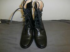 ANN DEMEULEMEESTER Black Lace Up Ankle Boots 37.5