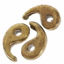 Yin And Yang Bead Charm Pendants Antique Brass 15mm Pack of 3 (D42/15)