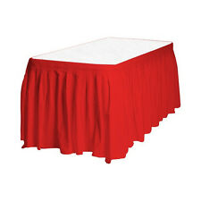 "2 Plastic Table Skirts 13' X 29"" Streches-19' - Red"