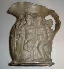 1830 Minton Muted Green Stoneware Jug Pitcher Greek Mythological High Relief