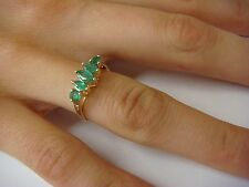 14K GOLD GENUINE 0.75 CT MARQUISE AND ROUND EMERALDS HIGH SET BAND-RING, SIZE 6