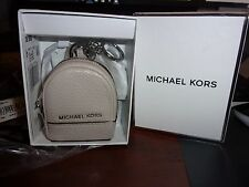 NWT MK MICHAEL KORS LEATHER RHEA BACKPACK KEYCHAIN AND BOX CEMENT