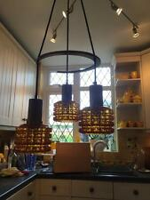 Danish Fog & Morup Danish Rosewood & Glass Three Arm Chandelier Ceiling Light