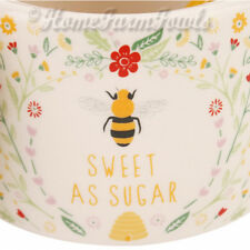 NEW CERAMIC BEE & FLOWERS SUGAR JAR /GIFT BOXED/RUSTIC/ WITHOUT THE SPOON