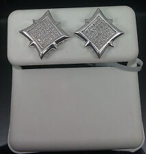 White Gold Finish Earrings With Paved Diamond #A0B10