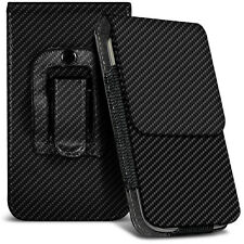 Vertical Small Black Carbon Fibre Belt Pouch Case For Nokia E72