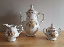 Vintage Roslau Bavaria WHITE/GOLD Tea or Coffee Set of Pot, Creamer & Sugar Bowl