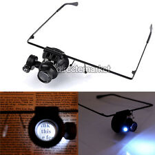 20x Magnifying Eye Magnifier Glasses Loupe Lens Jeweler Watch Repair LED Tool