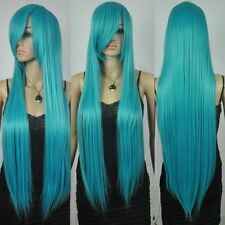 extra long straight rapunzel tangled dark turquoise bangs cosplay hair wigs