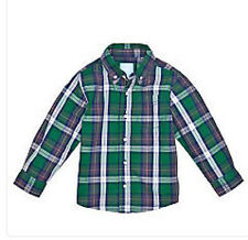 J Khaki Blue Plaid Button Down Woven Shirt Boy Size 5 NWT