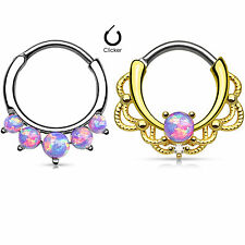 2 Pc Mixed 14K Gold Plated & Steel W/ Purple Opal Stone Septum Clickers 16G