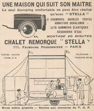 Z9203 Chalet Remorque STELLA -  Pubblicità d'epoca - 1929 Old advertising