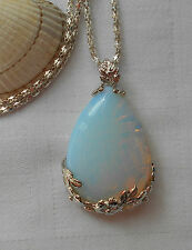 Lovely opalite tear drop gemstone pendant silver plated necklace flowers