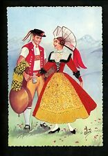 Embroidered clothing postcard Artist Elsi Gumier, Switzerland woman man couple