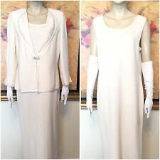 Amazing ST. JOHN Collection Knit White Ivory DRESS  SUIT SZ 1X / 14