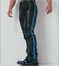 AW-728 Jeans type lederhose mit Streife,leather trousers,gay leder hose,Jeans