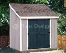 4' x 8' Storage Utility Lean - to Shed / Building  Plans, Design #10408