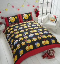 Emoticons 'Christmas Icons' Multi Reversible Rotary King Bed Duvet Quilt Cover S