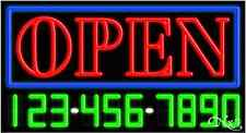 """NEW """"OPEN"""" W/YOUR PHONE NUMBER 37x20 NEON REAL SIGN W/CUSTOM OPTIONS 15013"""