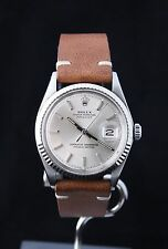 Mens Vintage ROLEX DATEJUST Silver Dial Ref. 1601 on Leather Band Circa 1968