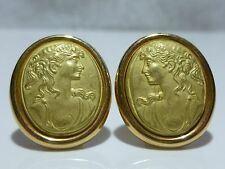 ANFORA OF ITALY 18K GOLD ETRUSCAN CAMEO INTAGLIO WOMENS EARRINGS PAIR PIERCED