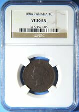 1884 Obverse 1 Variety Canada Canadian Large 1 Cent Victoria Coin NGC VF 30