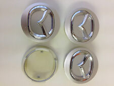 Set of 4 MAZDA  Face 57mm Clip 50mm ALLOY WHEELS CENTER CAPS SET  [ Silver ]