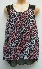 Womens New Ladies Black Pink Reversible Floaty Casual Tunic & Leggings SIZE 22