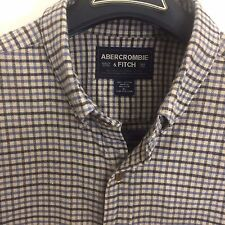 Abercrombie & Fitch Outdoor Plaid Button Front Shirt XL Light Blue, Navy and Tan