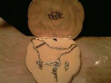 Phyllis Originals Sterling Rhinestone Necklace, Earrings, Case , Signed