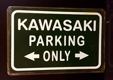 Kawasaki Parking Only Metal Sign / Vintage Garage Wall Decor (30 x 20cm)