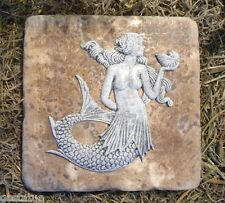 "Gostatue mermaid travertine tile abs plastic mold 6"" x 6"" x 1/3"" thick"