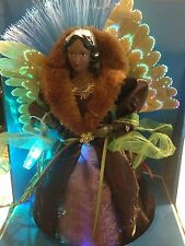 CHRISTMAS BLACK AFRICAN AMERICAN FIBER OPTIC LIGHTED ANGEL FIGURE TREE TOPPER 12