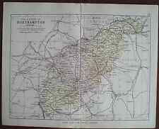 Antique colour county map Northampton late Victorian George Philip - Railways