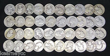 1937 D WASHINGTON QUARTERS GOOD G - FINE F AVG CIRC FULL ROLL 40 SILVER COINS