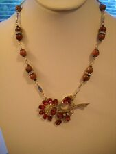 Repurposed Vintage Necklace 40s Pink Rhinestone Flower Pendant Natural Stone