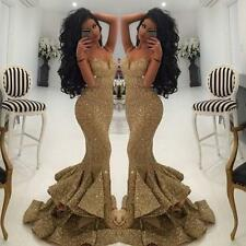 2017 Sexy Sequins Long Formal Evening Dress Celebrity Pageant Party Prom Gown