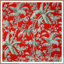 BonEful Fabric FQ Cotton VTG Red Green Bamboo Quilt Tropical Xmas Palm Tree Leaf