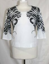 CiCi Party korea - M - Black & White Whimsical Geometric Elbow Sleeve Blouse Top