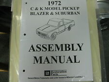 1972 CHEVY  PICKUP, BLAZER, SUBURBAN TRUCK (ALL MODELS) ASSEMBLY MANUAL