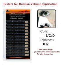 Russian Volume Lashes 3D-6D Individual Eyelash Extensions 0.07  /curl-C / 12mm