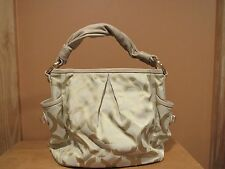 Coach Op Art Hobo Tan Canvas Leather Shoulder Bag Purse