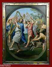 KING DAVID DANCING BEFORE THE ARK OF THE COVENANT  5' X 4' 17thC PAINTING